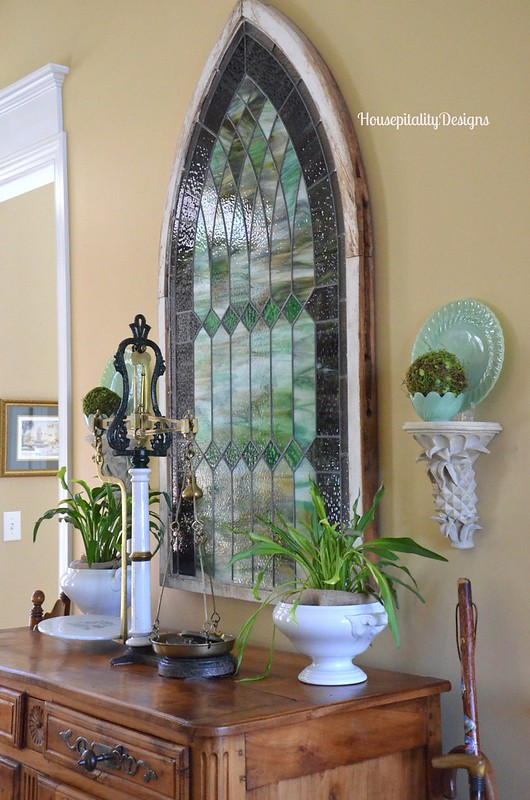 Antique French Buffet/Antique Scottish Scale/Antique Stained Glass - Housepitality Designs