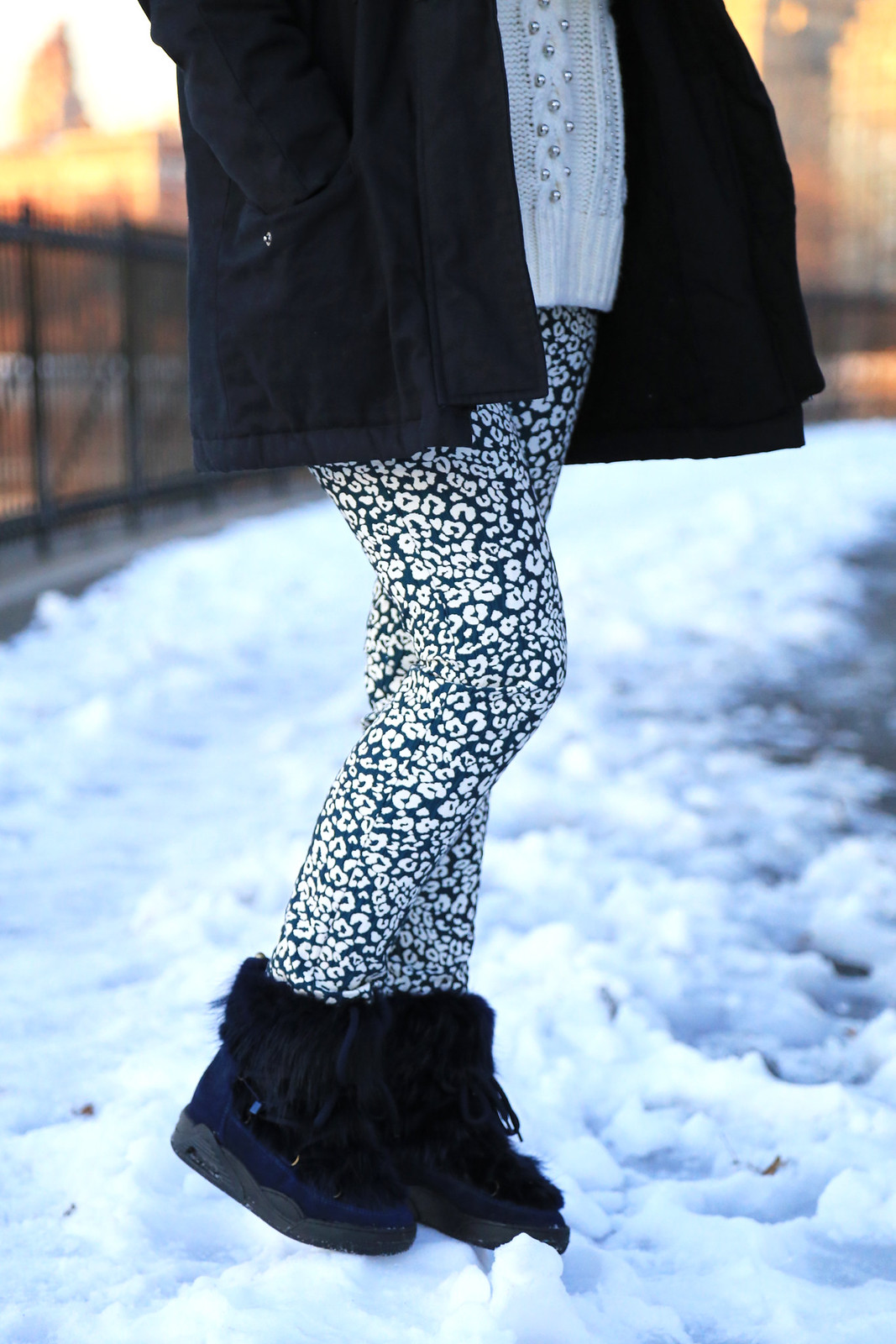 zara printed trousers with moon boots serafini