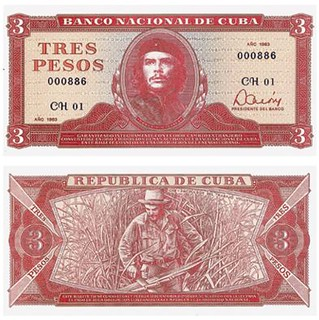 1983 Cuba three pesos note