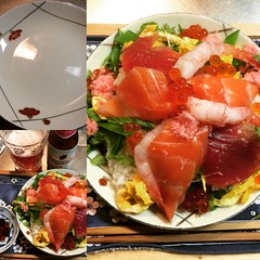 I rarely use this dish. It is quite Spring-y with the ume flowers on it but not microwave friendly. Dinner is kaisen chirashizushi with Hoegaarden  rosée ❤︎  #海鮮ちらし寿司 #ひなまつり #hoegaarden #rosée #kaisenchirashizushi #hinamatsuri #dinner #osaka #japan