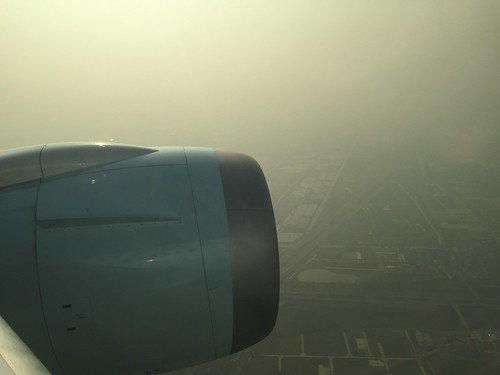 Landing in the smog in Shanghai