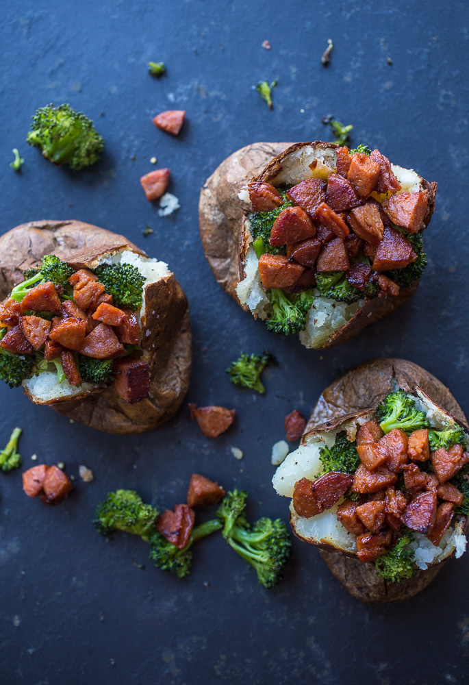 Chorizo Roasted Broccoli Cheddar Overstuffed Baked Potatoes