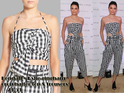Kendall + Kylie gingham crop top with matching high waist trousers & black suede mules.