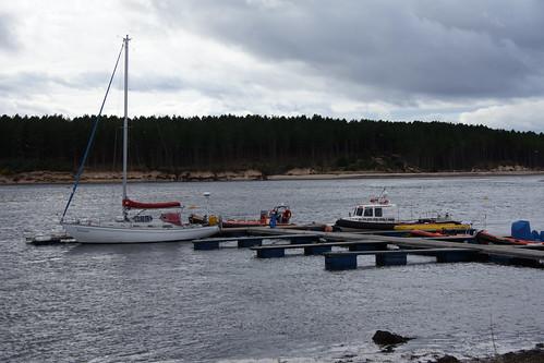 Raasay back in Findhorn - on the pontoons