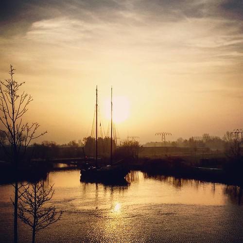 morning winter sunrise square boat sierra squareformat groningen iphoneography instagramapp uploaded:by=instagram