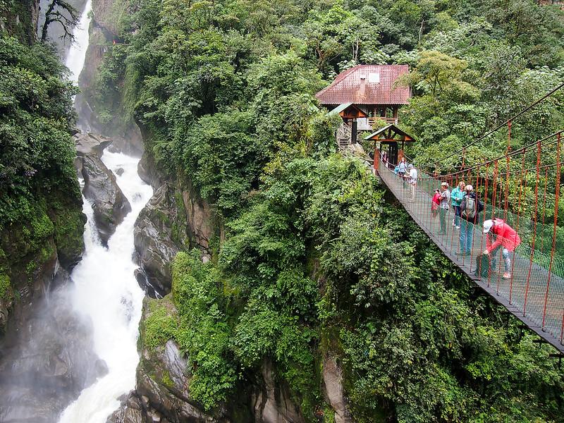 Devil's Cauldron waterfall in Banos, Ecuador