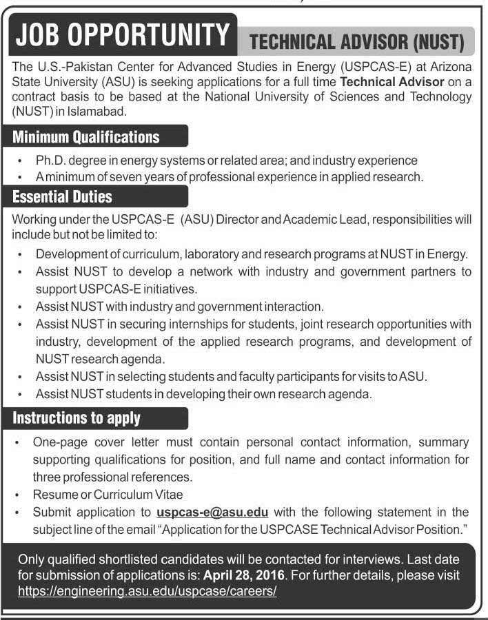 Technical Advisor Required at National University of Science and Technology