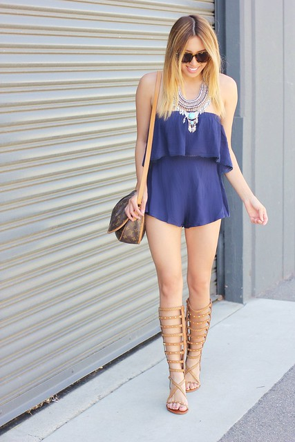 shop tobi,tobi,romper,summer,summer style,zero uv,sam moon,statement necklace,shop mari a,gladiator sandals,louis vuitton,people style watch,lucky magazine contributor,fashion blogger,lovefashionlivelife,joann doan,style blogger,stylist,what i wore,my style,fashion diaries,outfit