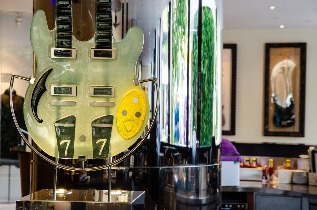 Guitar with smiley face at Hard Rock Hotel