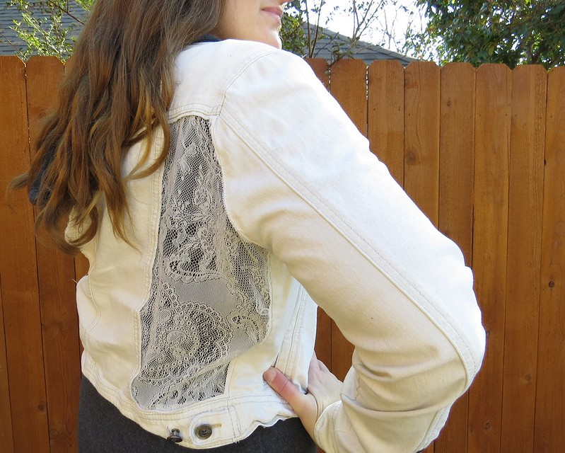Lace Panel Denim Jacket - After
