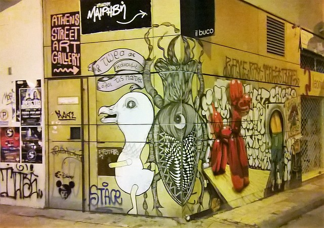 bird graffiti athens