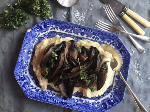 mushrooms celeriac puree gluten dairy free vegan recipe