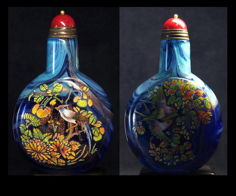 雍正年製 攪料撒金 畫粉彩 鼻煙壺