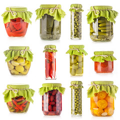 Collection of Glass jars of preserved isolated on…