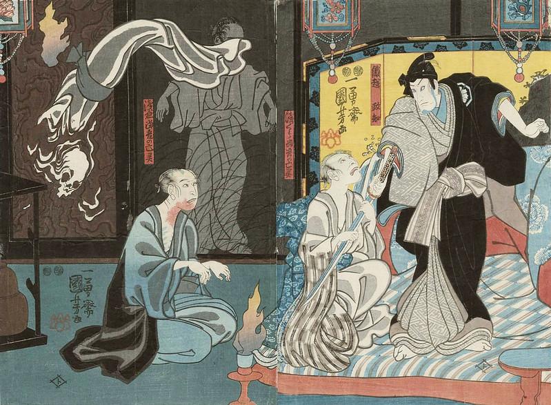 Utagawa Kuniyoshi - Leftside - Ichikawa Kodanji IV as the ghost of Shingo Asakura, Rightside - Ichikawa Kodanji IV as the ghost of Asakura Tôgo, 1847-52