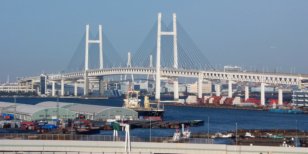 #6791 Yokohama Bay Bridge (横浜ベイブリッジ) from Harbour View Park (港の見える丘公園)
