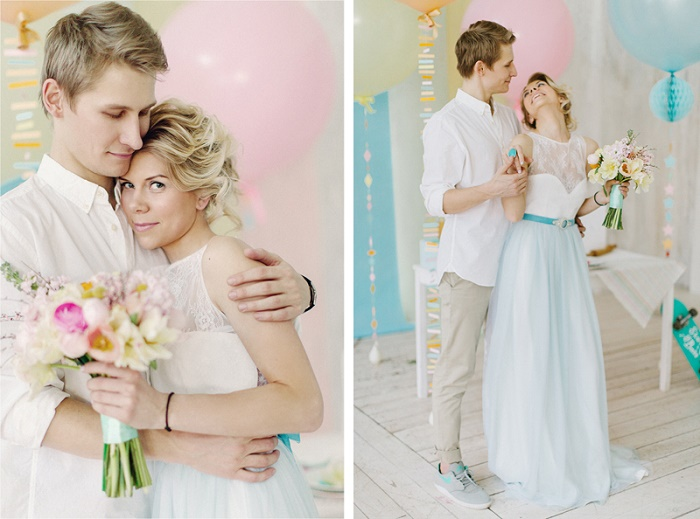 Whimsical light blue wedding dress | Modern Whimsical Wedding Inspiration Full of Colour | itakeyou.co.uk