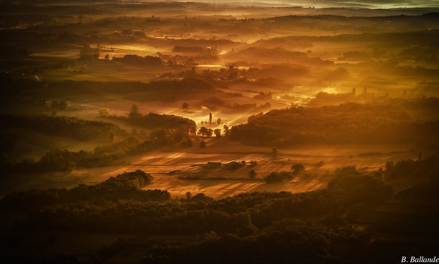 French countryside see from the air : dawn