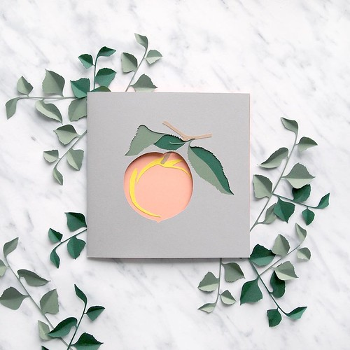 square paper cut peach fruit card