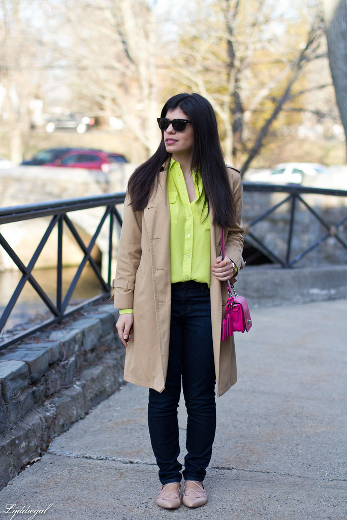 green equipment blouse, london fog trench, pink coach bag.jpg