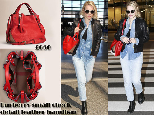 Red Burberry small check detail leather handbag with double denim outfit