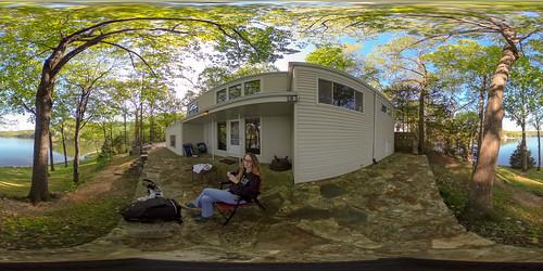 morning vacation portrait woman house lake coffee self us view unitedstates outdoor 360 missouri porch lakeoftheozarks ricoh ozark spherical degrees theta selfie camdenton thetas theta360 saraspaedy