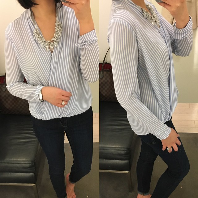 Ann Taylor Striped Wrap Blouse