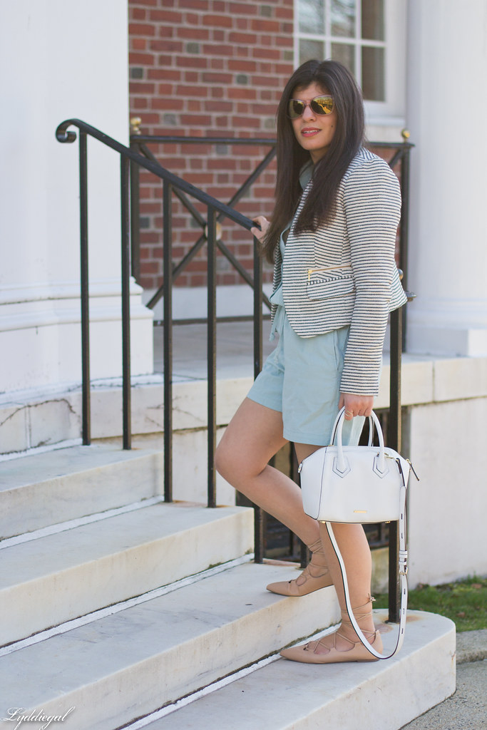 mint romper, striped blazer, lace up flats, white bag-1.jpg