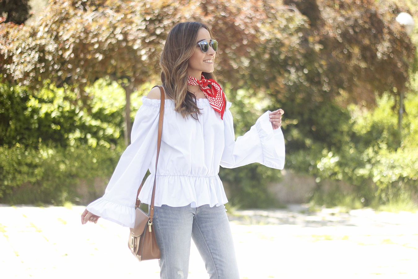 off the shoulders top with bell sleeves red bandana nude heels dior sunglasses spring outfit23