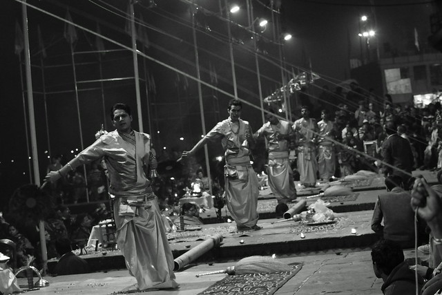 Aarti Puja, a ritual of fire at Dashashwamedh Ghat, Varanasi (India). 27 Dec 2015