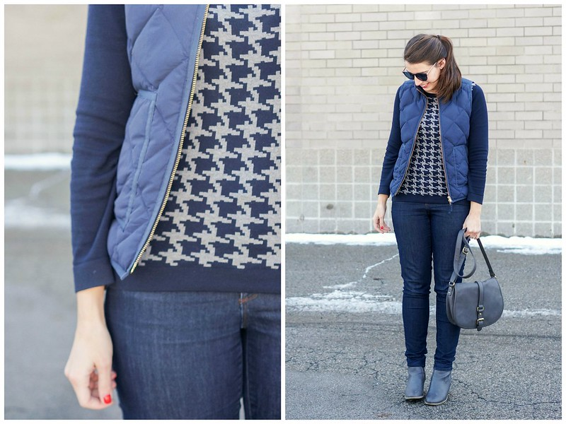 navy quilted vest + houndstooth print sweater + gray ankle boots and purse