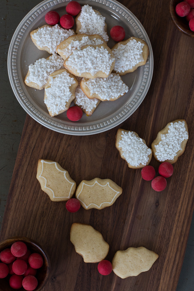 SSnow Covered Holly Leaf Cut Out Sugar Cookie and Royal Icing Recipe