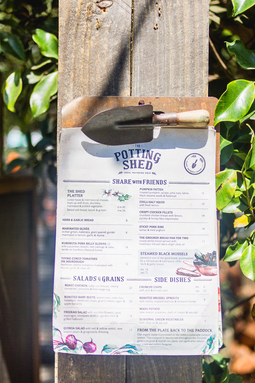 the grounds of alexandria the potting shed menu