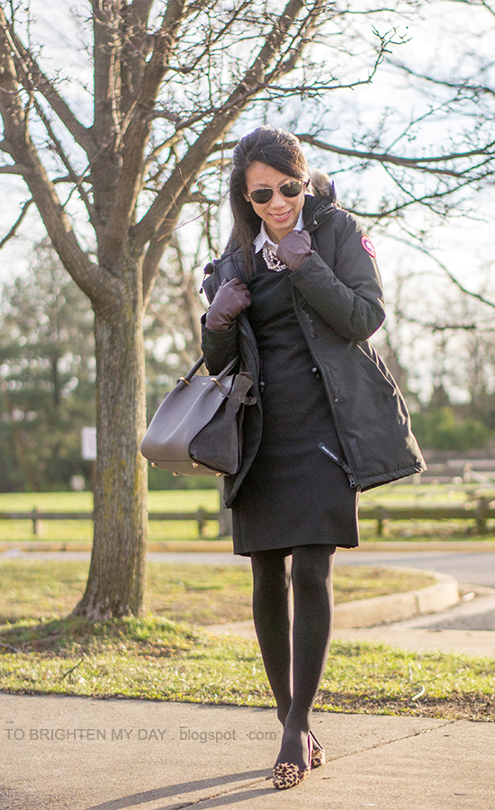 mixed stone necklace, black parka, black shift dress, plum gloves, leopard flats