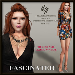 LEGENDAIRE FASCINATED DRESS WITH NECKLACE AND HEELS