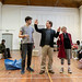 Charlie Folorunsho, Dominic Marsh, Paul Hunter, Myra McFadyen, John Pfumojena and Amanda Hadingue in rehearsals for I Am Thomas, Copperfield Rehearsal Rooms