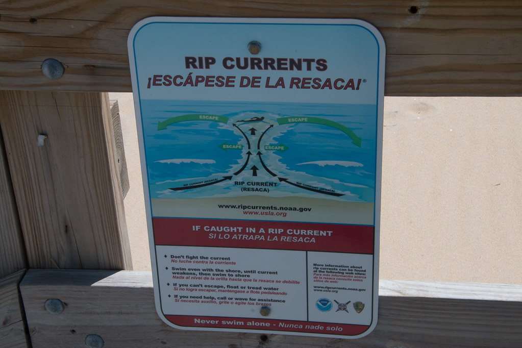 Rip Currents sign in Ocean City