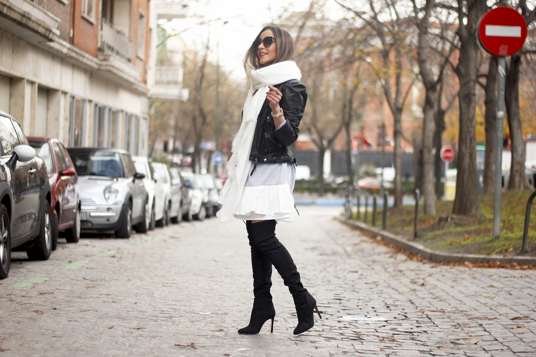 Leather Jacket gray dress over the knee boots style outfit fashion coach bag white scarf02