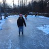 They made an ice skating rink in the swamp are in front of the house Sunday afternoon.
