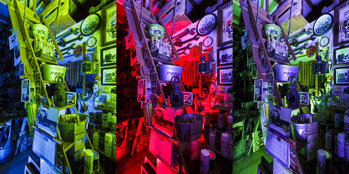 Notley Hawkins Photography, Columbia MO Photo, Night Photography, Tool Shed, tools, Light Painting, triptych