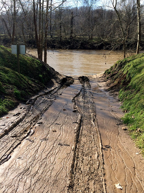 Muddy boat ramp