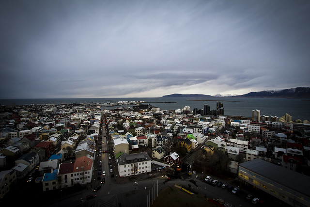 View of colourful rooves of downtown Reykjavik from the tower of Hallgrímskirkja