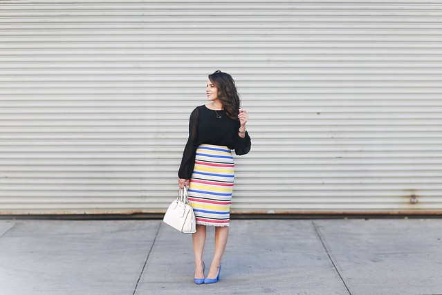 Jcrew skirt-colorful-stripes-blue heels-what to wear to work-corporate outfit-thredup-corproate catwalk-club monaco shirt-black top8