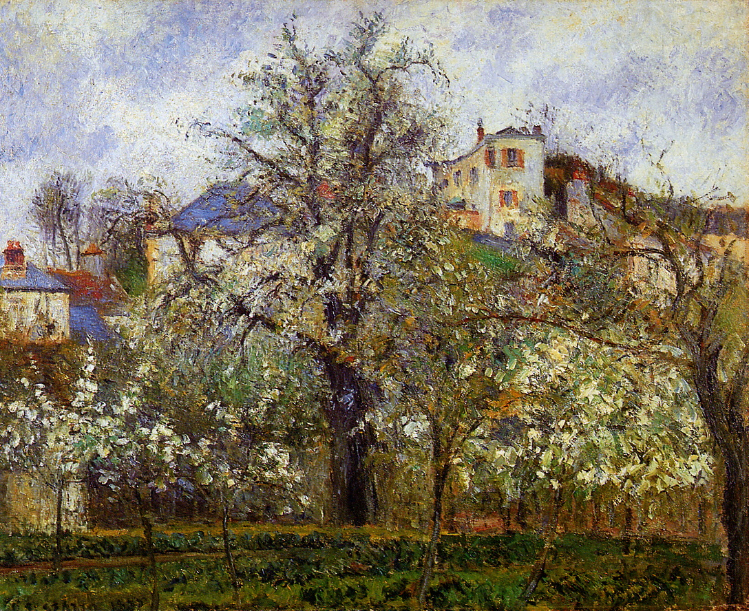 The Vegetable Garden with Trees in Blossom, Spring, Pontoise by Camille Pissarro, 1877
