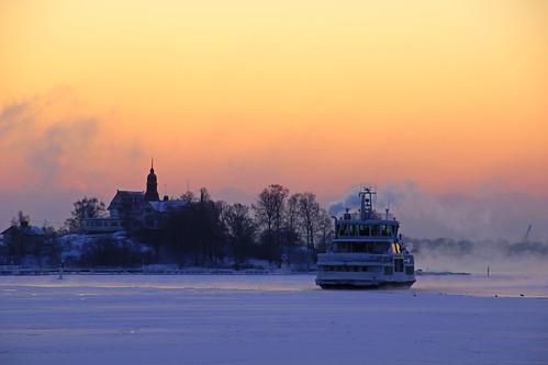 Klippan silhouette in the sunrise glow, Helsinki