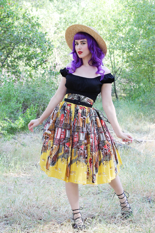 Trashy Diva Gathered Knee-Length Skirt in French Quarter Print Pinup Girl Clothing Pinup Couture Peasant Top in Black Sateen