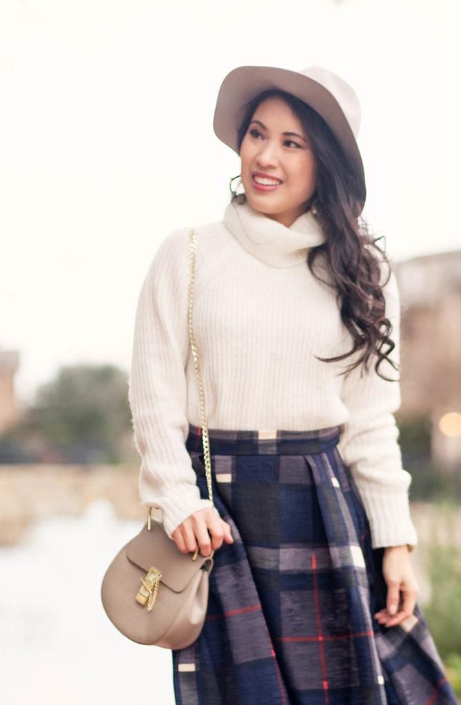 cute & little blog | petite fashion | express turtleneck white sweater, good row company plaid midi skirt, gray felt hat | winter outfit