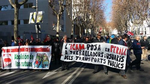 #pressingICAM Es manifesten a l'ICAM contra les altes injustificades convocades per CGT Bus 1