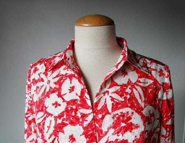 coral silk blouse collar view