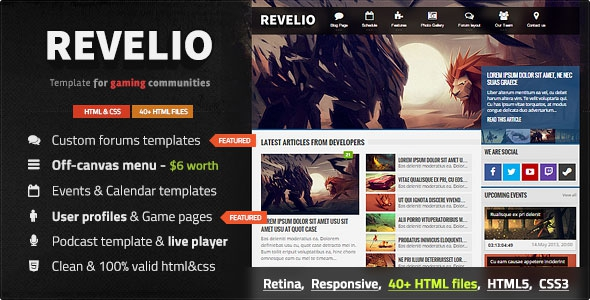 ThemeForest Revelio v1.0.1 - The Gaming Template HTML